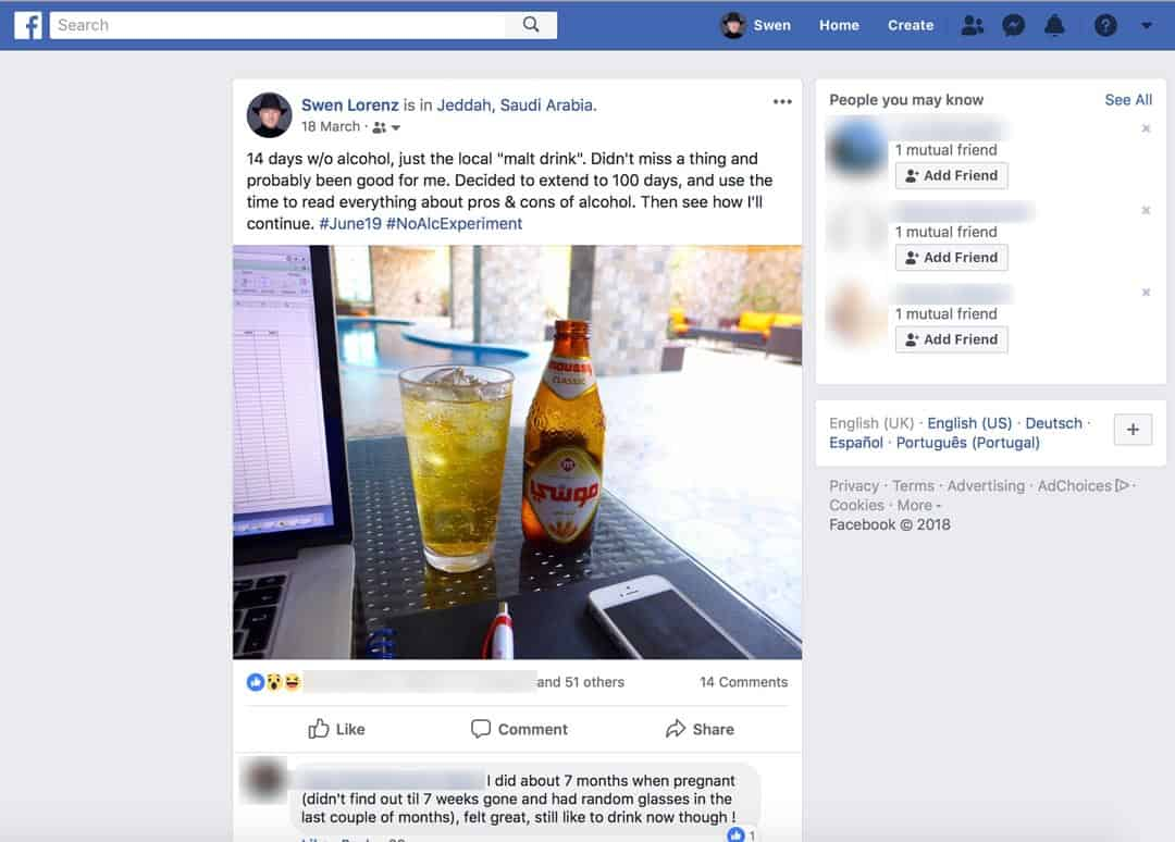 Facebook post no alcohol