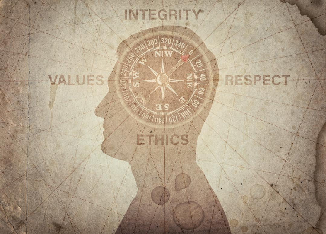 Human head compass ethics values integrity respect