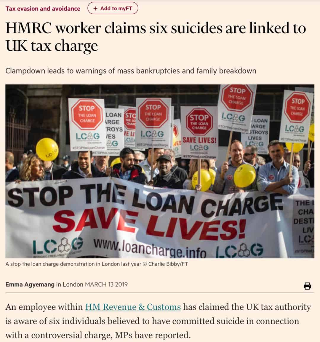HMRC suicides linked to tax charges