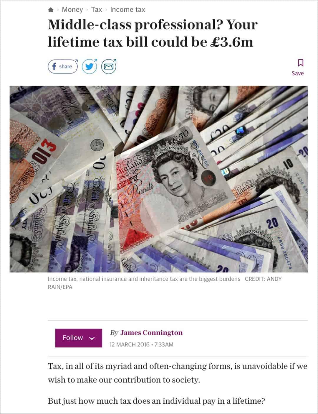 Telegraph lifetime tax bill