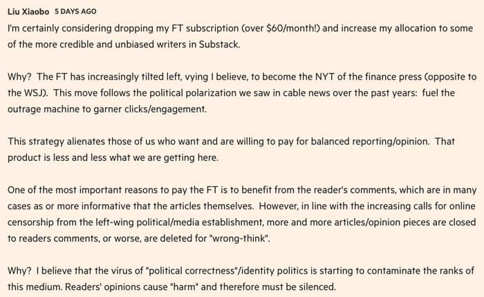 Financial Times subscribers leaving for Substack