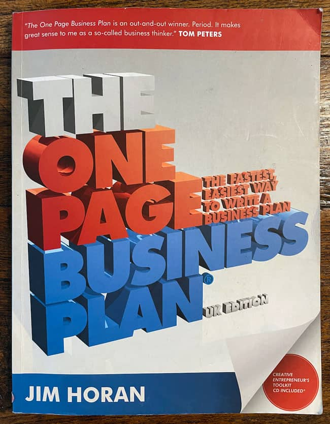 The one page business plan book cover